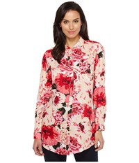 Jag Jeans Magnolia Tunic In Rayon Print Pink Poppies Women's Blouse Multi