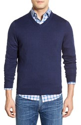 Men's Vineyard Vines 'Performance Blend' V Neck Sweater Deep Bay Blue