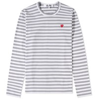 Comme Des Garcons Play Women's Little Red Heart Long Sleeve Striped Tee Grey