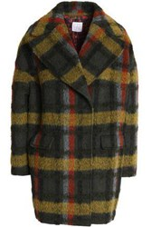 Stella Jean Woman Double Breasted Checked Wool Blend Coat Army Green