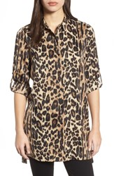 Kenneth Cole New York Button Tab Tunic Shirt Natural Leopard