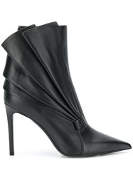 Balmain Pleated Fan Boots Black
