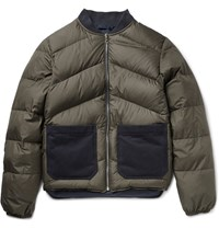 The Workers Club Reversible Quilted Shell Down Bomber Jacket Green
