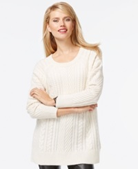 Charter Club Petite Cable Knit Cashmere Crew Neck Sweater Only At Macy's Ivory