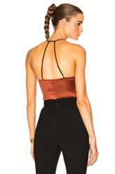 Fleur Du Mal V Neck Bodysuit In Orange