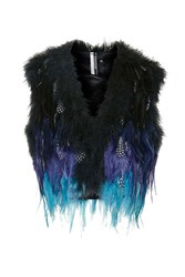 Topshop Festival Feather Gilet Blue