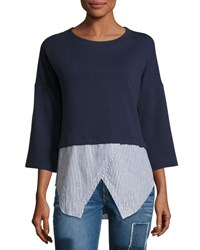 Derek Lam Faux 2 In 1 Sweatshirt And Shirt Combo Top Navy