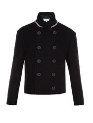 Maison Martin Margiela Double Breasted Cropped Pea Coat Navy