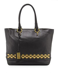 Badgley Mischka Carol Studded Leather Tote Bag Black