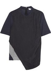 Tim Coppens Asymmteric Washed Crepe De Chine And Jersey Top Midnight Blue