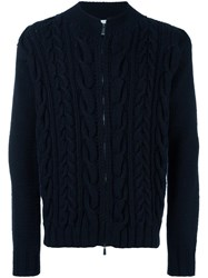 Malo Cable Knit Zip Cardigan Blue
