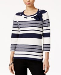 Maison Jules Striped Bow Top Only At Macy's Egret Combo
