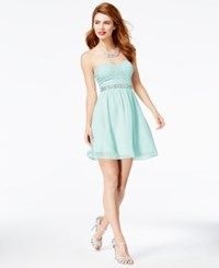 Speechless Juniors' Embellished Lace Bodice Fit And Flare Dress Mint