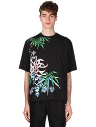 Kenzo Flowers Print Cotton Blend T Shirt Black