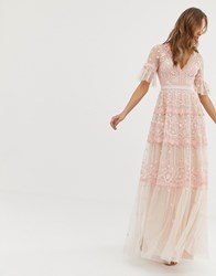 Needle And Thread Embroidered Maxi Dress With Flutter Sleeve In Rose Pink