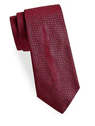Saks Fifth Avenue Made In Italy Connected Silk Tie Red
