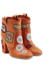Laurence Dacade Leather Ankle Boots With Logo Patches Camel