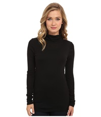 Michael Stars Slub Long Sleeve Turtleneck Black Women's Long Sleeve Pullover