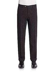 Gant By Michael Bastian Striped Wool Trousers Burgundy
