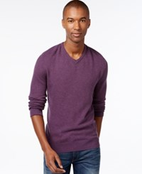 Vince Camuto Plait Knit V Neck Sweater Purple
