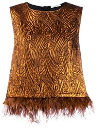 Odeeh Feather Hem Blouse Brown