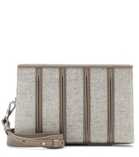 Max Mara Whitney Leather And Canvas Clutch Beige