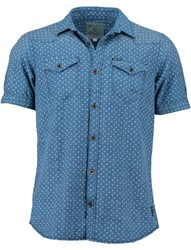 Garcia Mens Cotton Print Shirt Indigo
