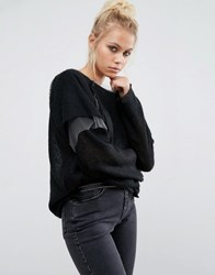 The Ragged Priest Long Sleeve Reconstructed Jumper With Mesh Layer Black Grey