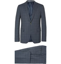 Etro Prince Of Wales Checked Wool Suit Blue