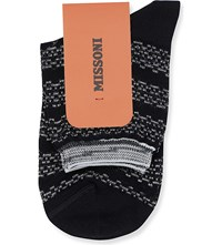 Missoni Short Wavy Striped Socks Black 005