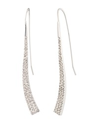 Ralph Lauren Curved Linear Pave Earrings Silver