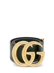 Gucci Gg Snakeskin Effect Logo Wide Leather Belt Green