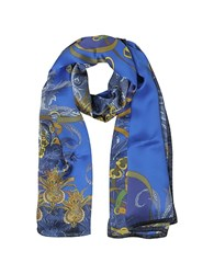 Mila Schon Ornamental And Pattern Printed Satin Silk Stole Blue