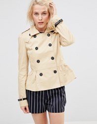 Lavand Short Double Breasted Classic Trench Beige