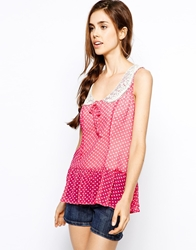 Max C London Max C Spot Top With Collar Pink
