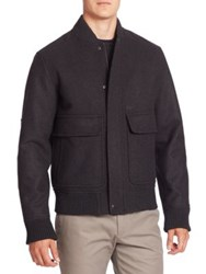 Lacoste Wool Blend Bomber Jacket Charcoal