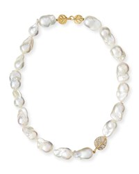 18K Diamond Botanical Leaf And Pearl Necklace 16'L Michael Aram White