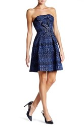 Eva Franco Vera Strapless Bow Dress Blue