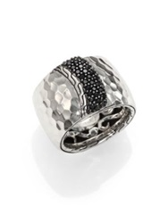 John Hardy Palu Black Sapphire And Sterling Silver Wide Overlap Band Ring