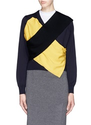 Toga Archives Crossover Front Band Wool Cardigan Multi Colour