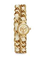 Tory Burch Reva Leather And Chain Double Wrap Watch Ivory