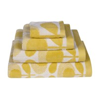 Orla Kiely Speckled Flower Oval Towel Yellow Face Towel