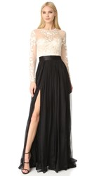 Catherine Deane Isha Lace Embroidered Gown Cream Black