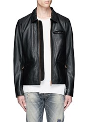 Scotch And Soda 'Lot 22' Cow Leather Jacket Black