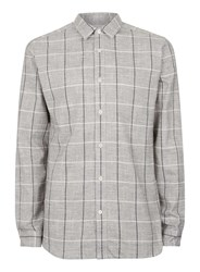 Selected Homme Grey And Black Check Cotton Shirt