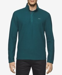 Calvin Klein Men's Quarter Zip Pullover Sweater Deep Teal