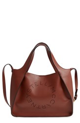 Stella Mccartney Perforated Logo Faux Leather Satchel Brown Pecan