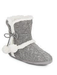 Chinese Laundry Faux Fur Trimmed Cable Knit Boot Slippers Grey