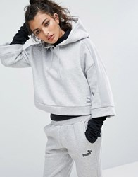 Puma Cropped Hoodie With Wide Sleeves In Grey Light Grey Heather