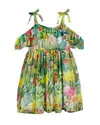 Mayoral Jungle Floral Cold Shoulder Dress Green